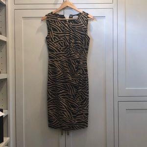 Calvin Klein Black and Tan midi sleeveless dress!